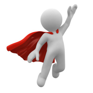 3d super hero with red cape